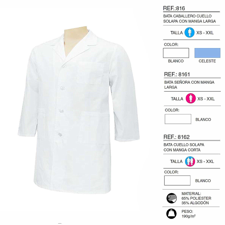 Camice Bianco Signore Collo Risvolto Maniche Lunghe Uniforme Clinica Ospedale Pulizia Veterinario IGIENE OSPITALIT/Á Ref 816 MISEMIYA