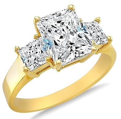 Amazon Solid 14k Yellow Gold 3 Three Stone Emerald Cut