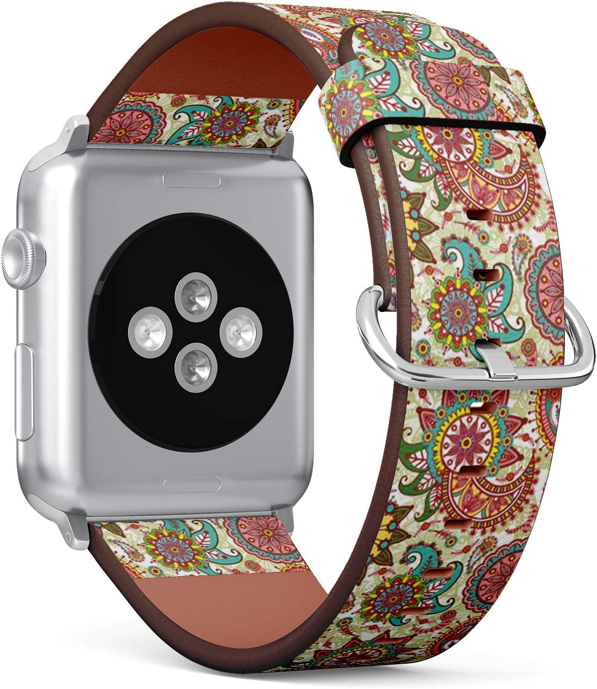 Compatible with Small Apple Watch 38mm & 40mm (Series 5, 4, 3, 2, 1) Leather Watch Wrist Band Strap Bracelet with Stainless Steel Clasp and Adapters (Paisley Flowers)
