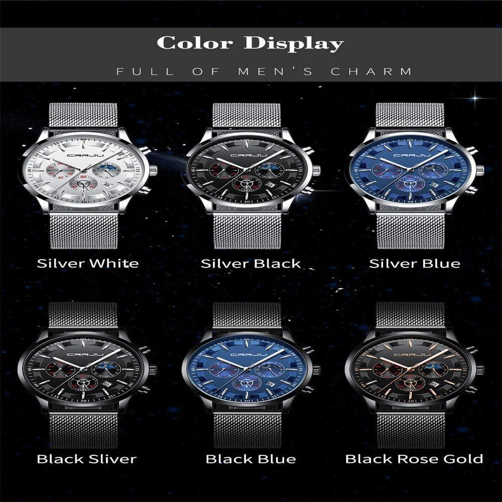 Orologio da uomo da polso cronografo multifunzione da uomo alla moda con Orologio da uomo al quarzo a maglie di marca Nero4