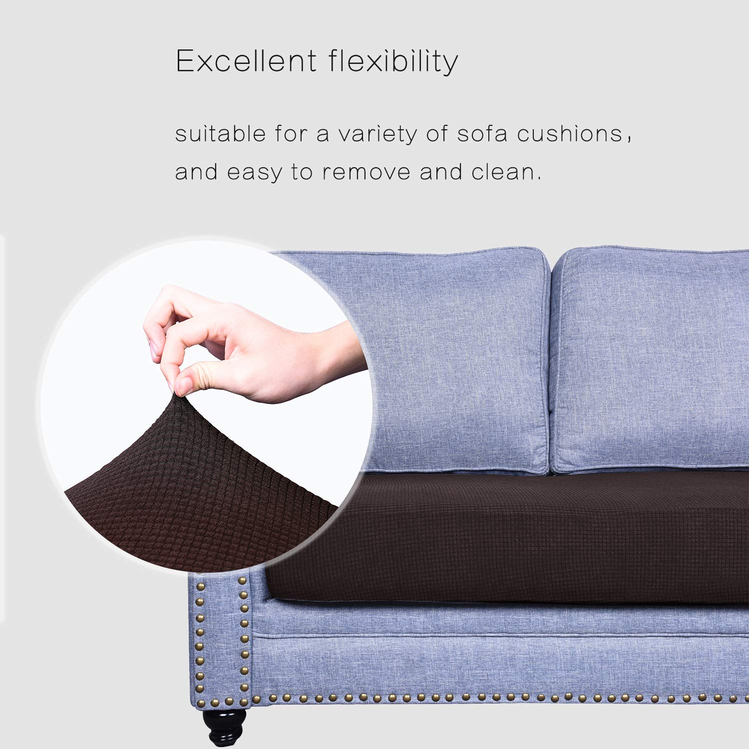 High Stretch Jacquard Fabric Sofa Seat Slipcover Protectors Granbest Premium Water-Repellent Couch Seat Cushion Cover Chocolate, XL Sofa Cushion
