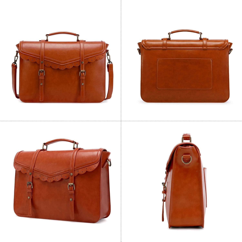 ECOSUSI Women Briefcase Bags Ladies Elegant Messenger Bag PU Leather Shoulder Laptop Bag Vintage Satchel Handbag Crossbody Bag Fit 15.6 inch Laptop