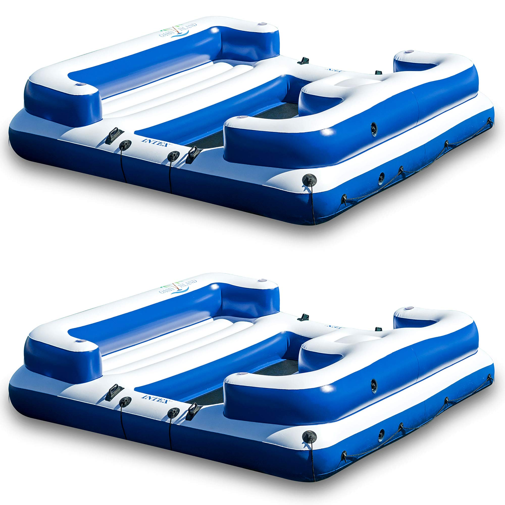 Intex Oasis Island Inflatable Giant 5 Person Lake Floating Lounge Raft (2 Pack) by Intex (Image #1)