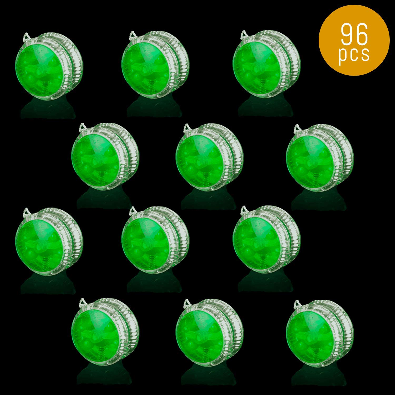 Lumistick LED Yo-Yo Ball | Peace Sign Flashing Spinning Light-up Hand Exercise Therapy Bright Colors Ball Night Festival Parties Glowing Toy (Green, 96 Yo-Yo Balls)