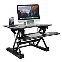 "Height Adjustable Standing Desk, BESTEK Stand Up Riser Converter 29"" Standup Ergonomic Height Adjustable Desktop Computer Workstation Dual Monitor Setup"