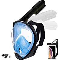 Foldable Full face Snorkeling mask with New Safety Breathing System, 180-degree Panoramic View, Waterproof and Anti-Fog…