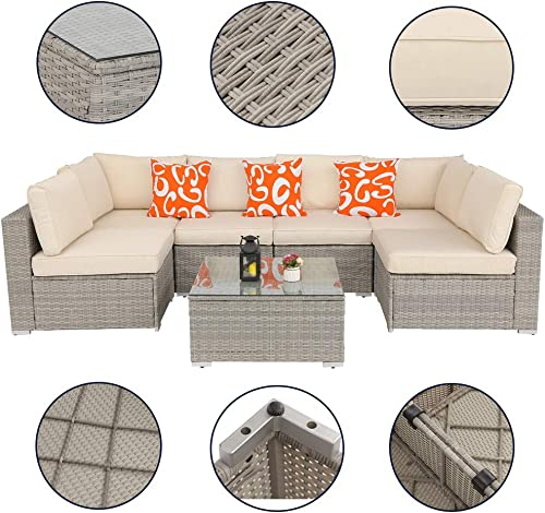 Furnivilla Outdoor 7 Pieces Patio Furniture Set All-Weather Wicker Sectional Sofa Rattan Set Sectional Garden Lawn Pool Backyard Conversation Sets Beige