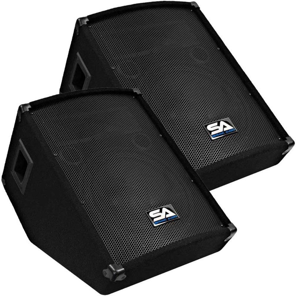 Seismic Audio - Pair of 12'' Floor Wedge Style Monitors - Studio, Stage, or Floor use - PA/DJ Speakers by Seismic Audio