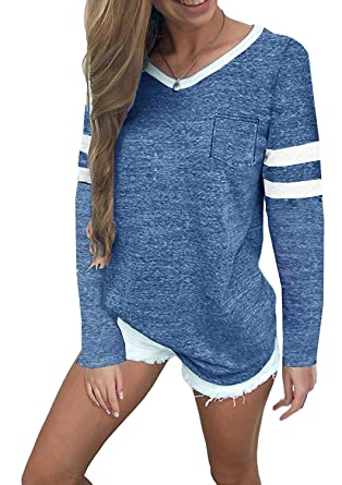 72c215f4fd9 MISSLOOK Women's Color Block Shirts Baseball Tees Long Sleeve Striped  Tunics Blouses Tops - Blue S