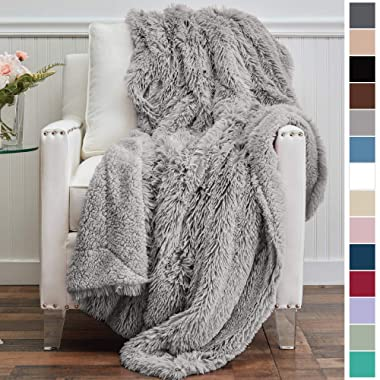The Connecticut Home Company Shag with Sherpa Reversible Kids Throw Blanket, Super Soft, Large Plush Wrinkle Resistant Blankets, Warm Hypoallergenic Washable Couch or Bed Throws, 65x50, Silver