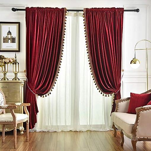 QSH Queen s House Luxury Burgundy Window Curtains Pom Pom Velvet Blackout Drapes Panels for Living Room 100 96 Inches-2 Panels