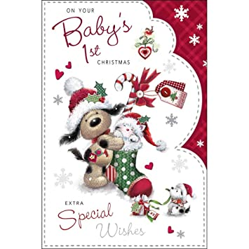 Christmas Card Jj7063 Baby S 1st Christmas Fudge Friends