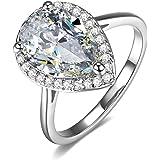 UMODE Teardrop Halo Pear Cut 4 Carat Cubic Zirconia CZ Engagement Wedding Ring for Women