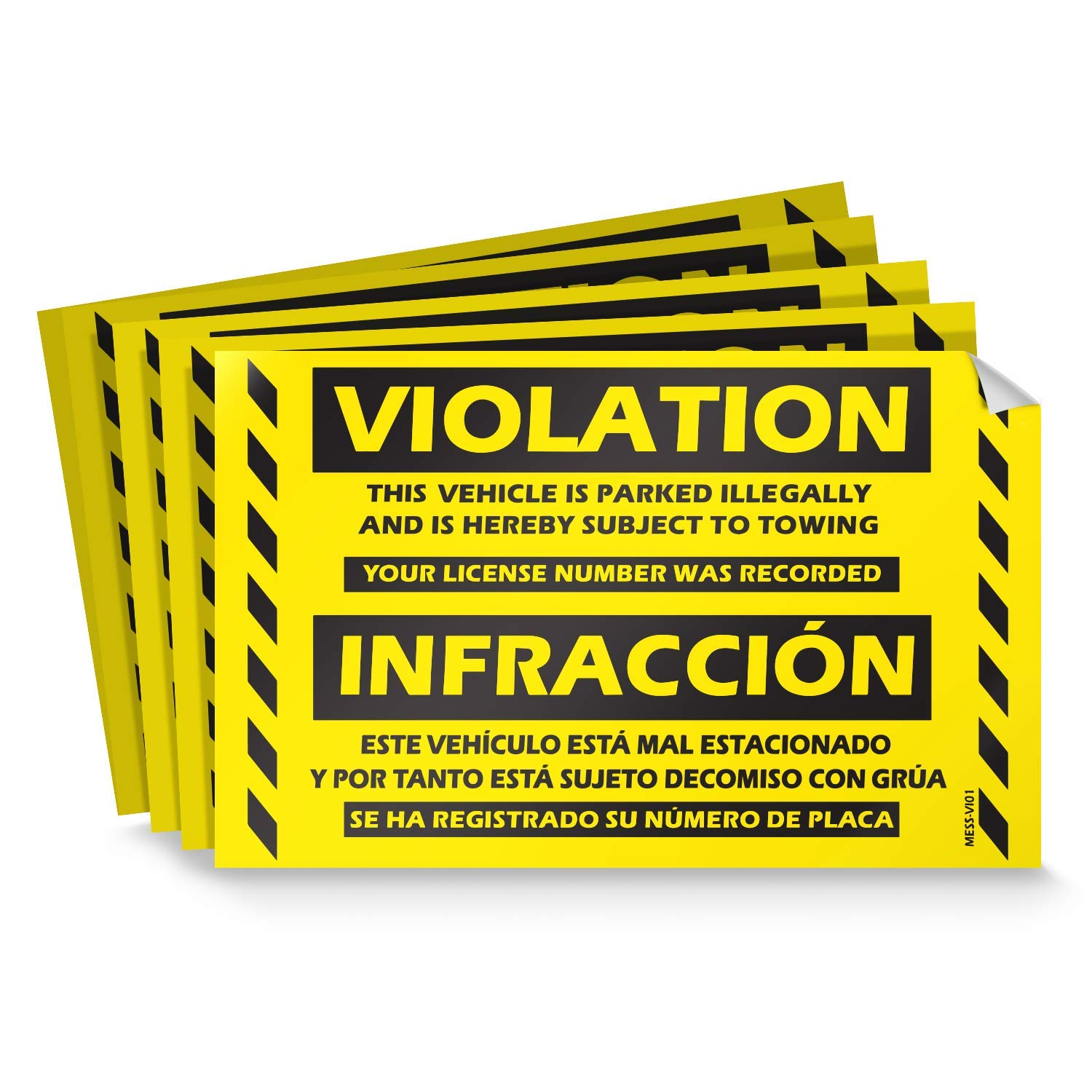 Parking violation stickers for cars fluorescent yellow 100 bilingual spanish no parking prohibido estacionar hard to remove super sticky no park tow