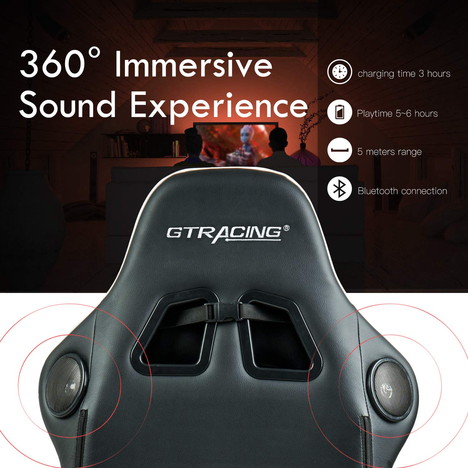 GTRACING Audio Gaming Chair with Bluetooth Speakers Patented Music Racing Chair Heavy Duty Ergonomic E-Sports Chair for Pro Gamer GT899 Red