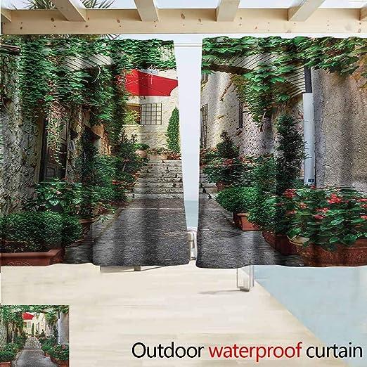 AndyTours - Cortina para Puerta corredera, diseño de Calle Estrecha mediterránea con Flores, Color Gris y Verde: Amazon.es: Jardín