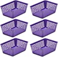 Ybmhome Plastic Storage Supply Basket for Office Drawer, Shelf Desktop, Home Junk Drawers, Kitchen Pantry Or Countertop Bins Trays for Office Home & School Classrooms 32-1181-6-purple (Purple, 6)
