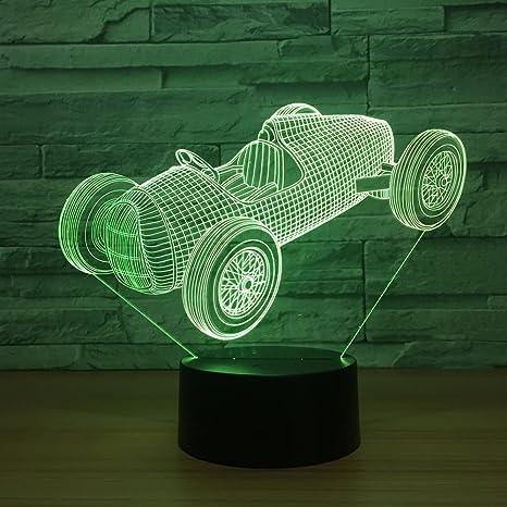 Carreras de coches 3D toque colorido creativo regalo Lampara ...