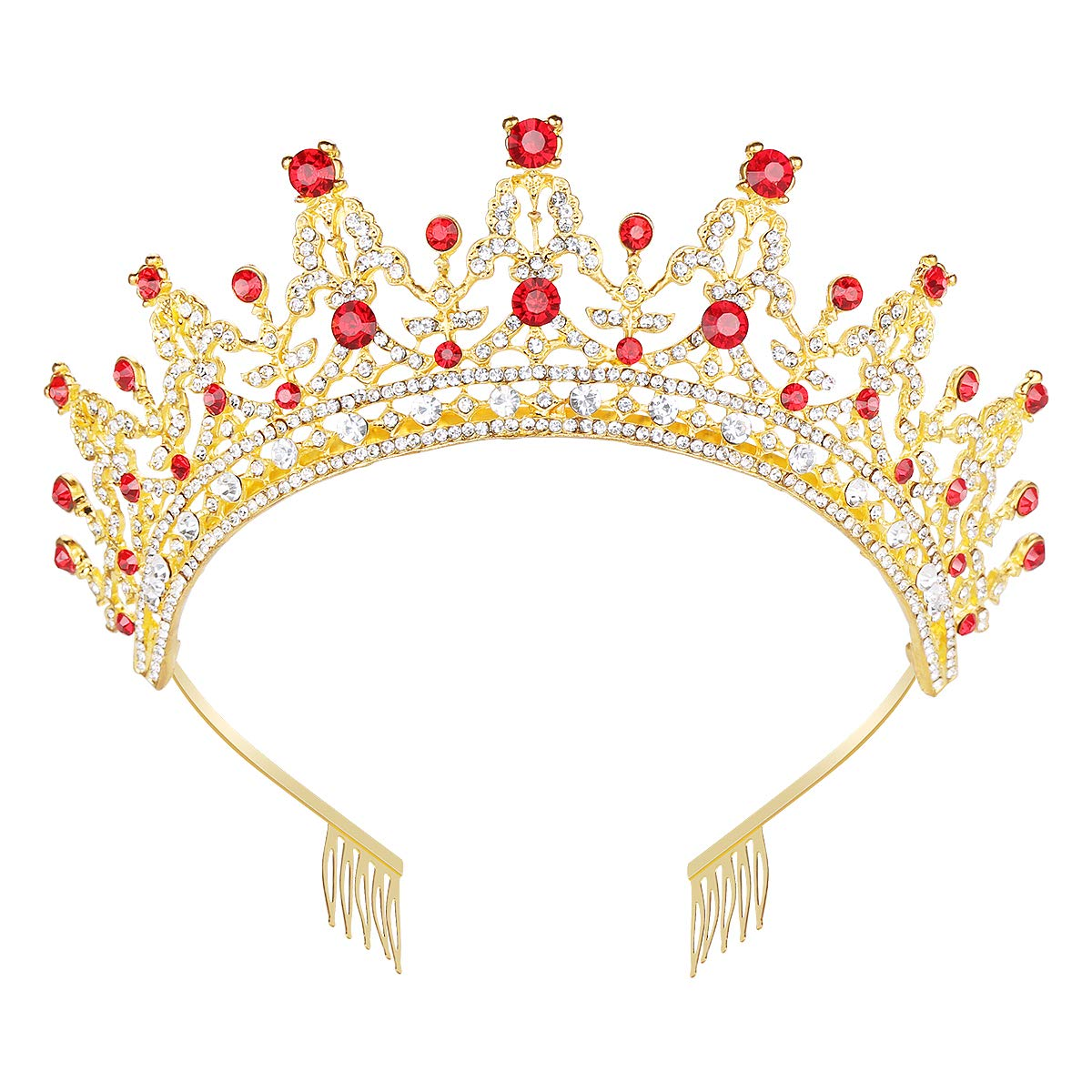 Makone Queen Crown for Womens Gold Tiara with Red Rhinestone for Halloween Birthday Girls Prom Halloween Bridal Party by Makone