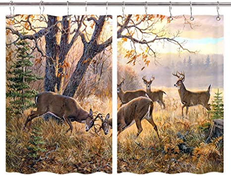 Amazon Com Nymb Animal Deer Kitchen Curtain Wildlife Theme Elk Herd In Fall Forest Kitchen Decorations Window Curtain Drapes Window Treatment Sets 2 Panels With Hooks 55x39inches Home Kitchen
