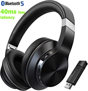 TOKSEL Wireless Gaming Headphones Headset Set w/Noise Cancelling Microphone & Bluetooth USB Audio Dongle for PC PS4 Nintendo Switch, Chat & Music Simultaneously, 40ms Low Latency, 15hrs Play Time
