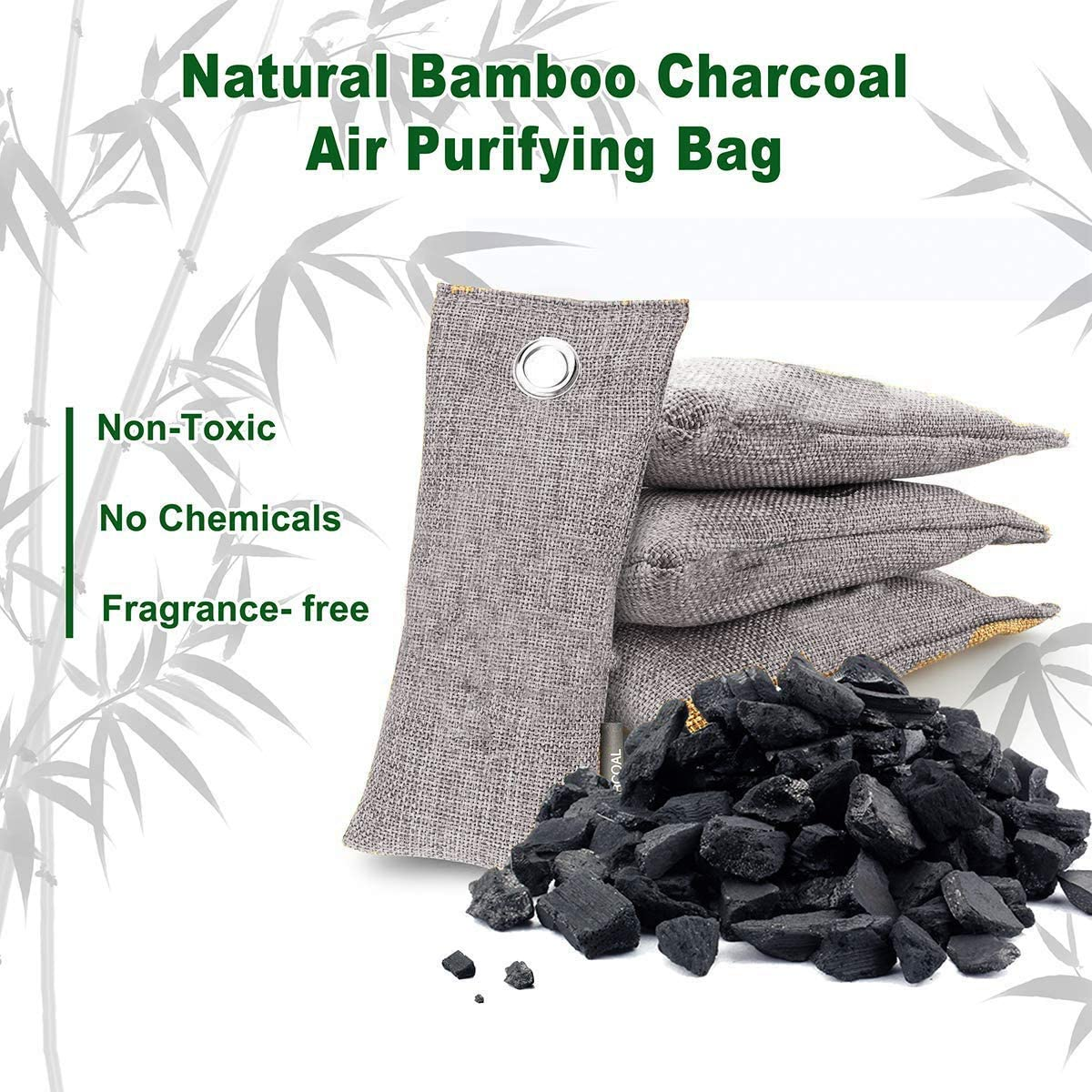 Allucky Air Purifying Bamboo Charcoal Bags Odour Absorber Air Freshener Hanging Pouches for Shoes, Home,Kitchen and Cars Set of 4 (100g/bag 4pack) 75g/Bag 4pack
