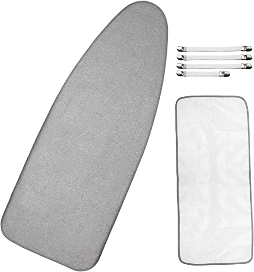Silicone, 18 X 49 Dalykate Replacement Ironing Board Cover and Pad with Elastic Edge and Scorch and Stain Resistant Thick Padding Ironing Board Covers 4 Fasteners and Protective Scorch Mesh Cloth