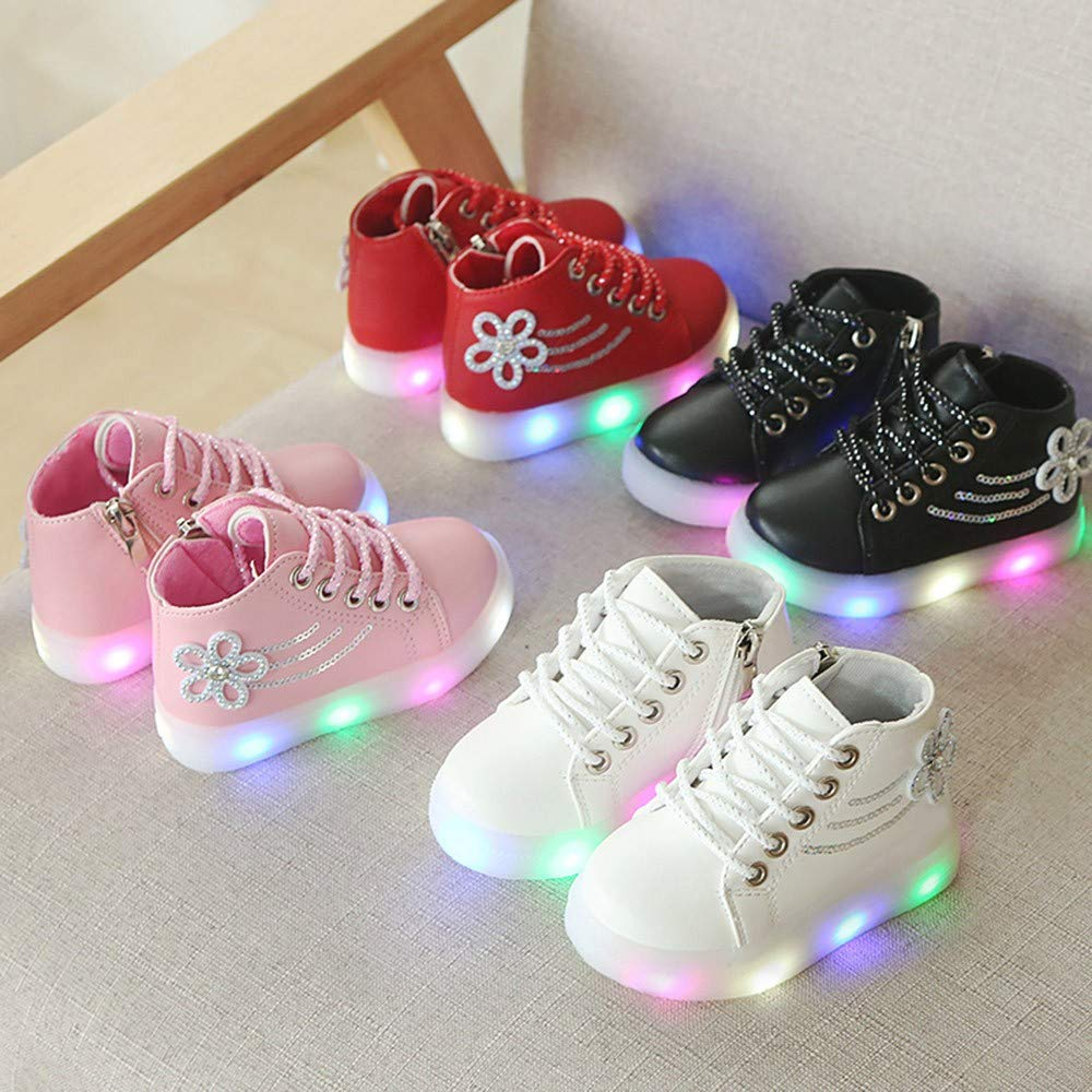 97a210d375a35 WARMSHOP Toddler Kids Light Up Shoes Boys Girls Lace Up Crystal ...