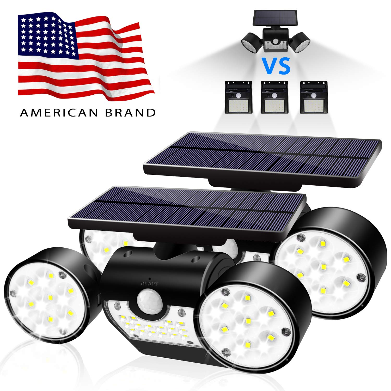 Bonitronic Solar Lights Outdoor, Solar Motion Sensor Lights Outdoor 360-Degree Rotatable, 30 LED Solar Lights Waterproof IP65 for Garden Backyard Garage Patio (2 Pack)