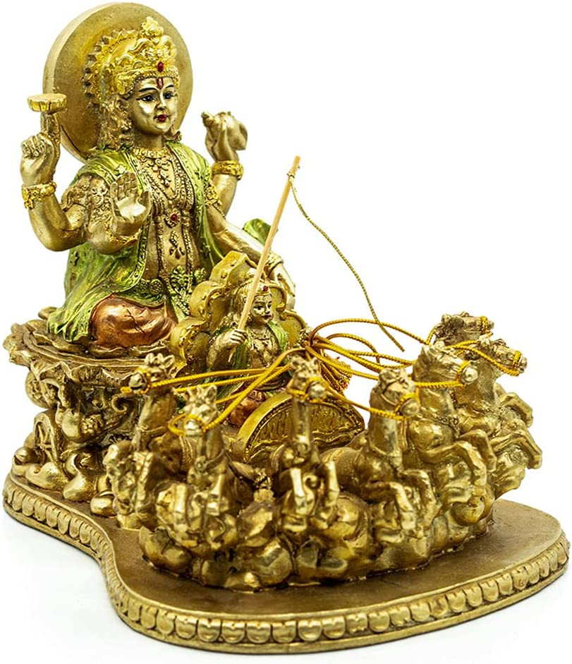 Hindu Lord Surya Sun Sculpture - India Religiou Handicraft Figurine Item Home Decor - Hinduism Eastern Enlighten Murti Pooja Suryadev Diwali Gift - Indian God Temple Mandir Puja Statue Wedding Return