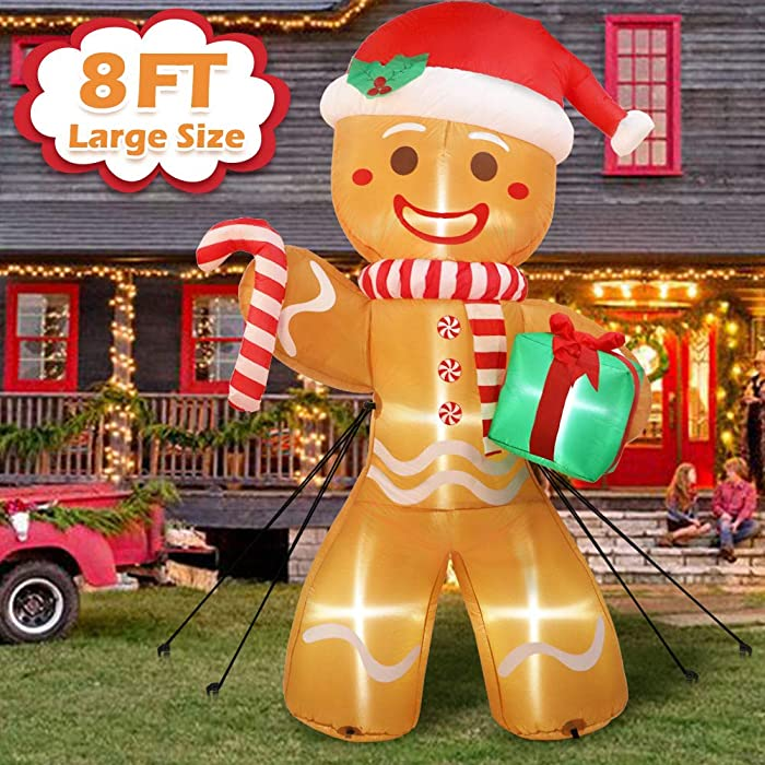 AerWo 8ft Christmas Inflatable Gingerbread Man, Christmas Blow Up Yard Decorations with Build-in LEDs, Inflatable Christmas Decorations Outdoor for The Yard, Lawn, Garden