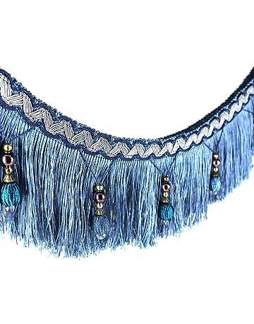 2yards trenzado cuentas colgantes bola borlas recorte floral tela recortar cinta banda cortina mesa boda decorado