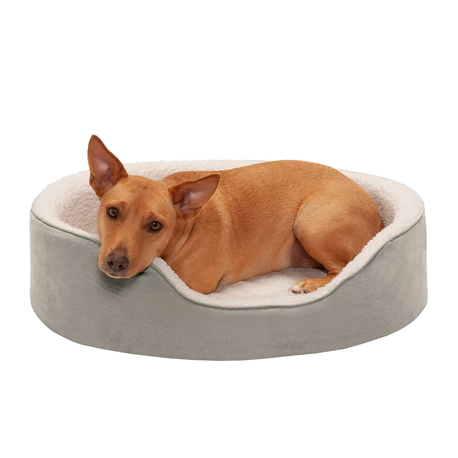 Furhaven Pet Dog Bed Round Oval Cuddler Nest Lounger Pet Bed for Dogs Cats – Available in Multiple Colors Styles