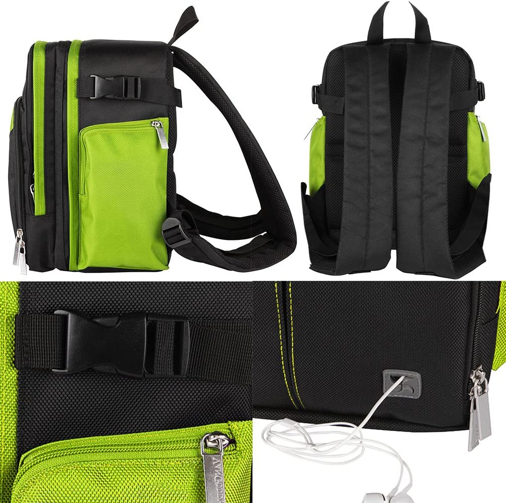 VanGoddy Sparta Travel Backpack for Casio Exilim EX FH25 SLR Like Digital Camera and Mini Tripod and Screen Protector Black and Green