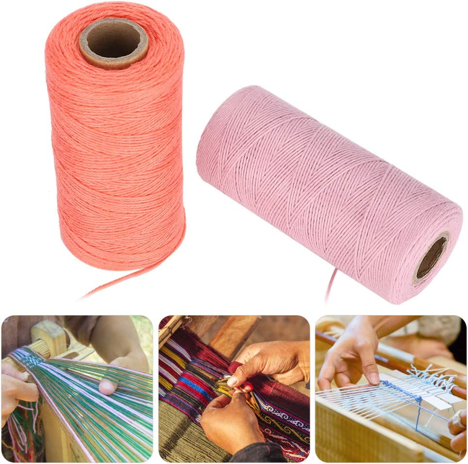 Pink Watermelon Red Embroidery Machine Thread Kit 8//4 Warp Yarn Weaving Carpe Ture Cotton Spinning 250M 2 Roll Embroidery Machine Thread