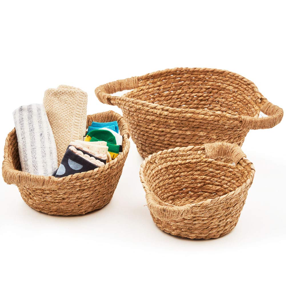 EZOWare Natural Handwoven Seagrass Rustic Round Nesting Wicker Shelf Baskets with Handles - Set of 3