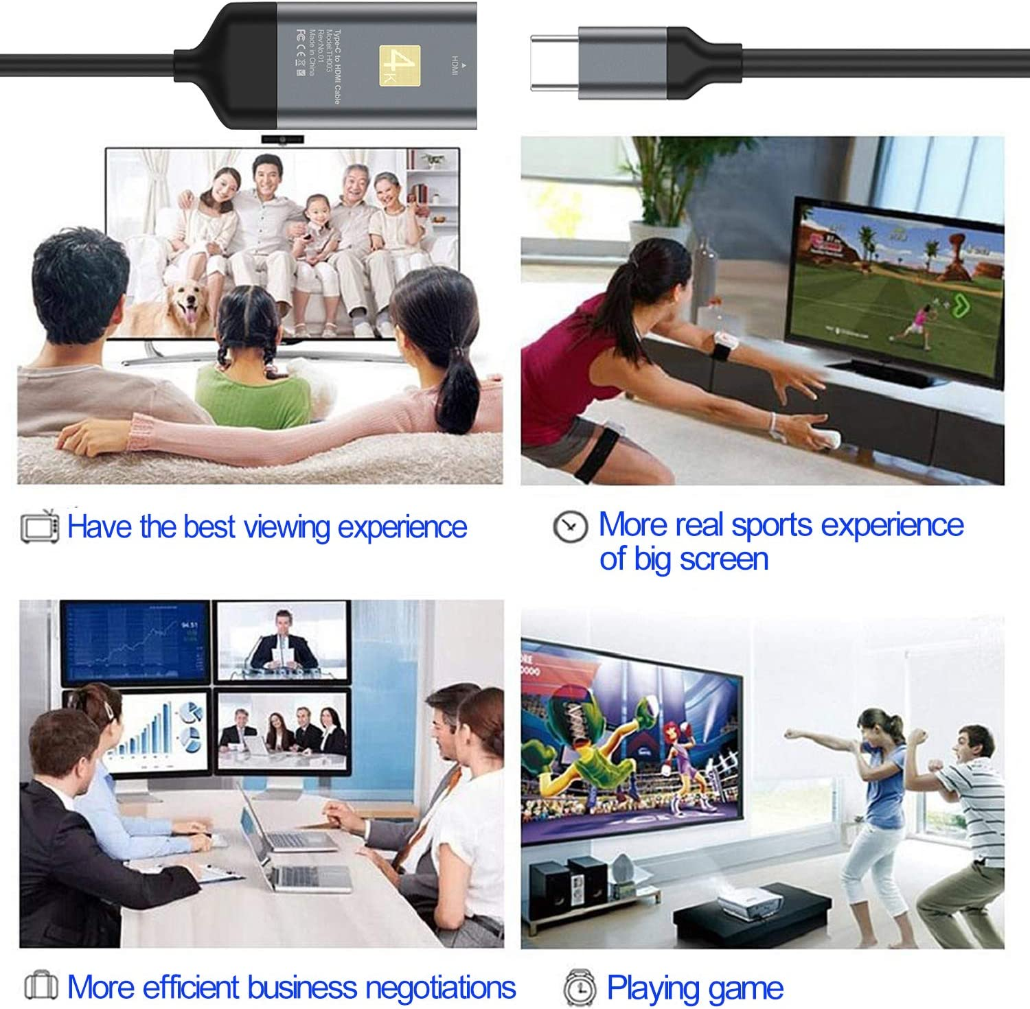 USB C to HDMI Adapter Type C//USB C 4K HDMI cable(Thunderbolt 3 Compatible)for MacBook Pro 2019//2018//2017,MacBook Air,Surface Book 2,Samsung Galaxy S10//S9//S8 Dell XPS 13//15,Huawei Mate30 and More