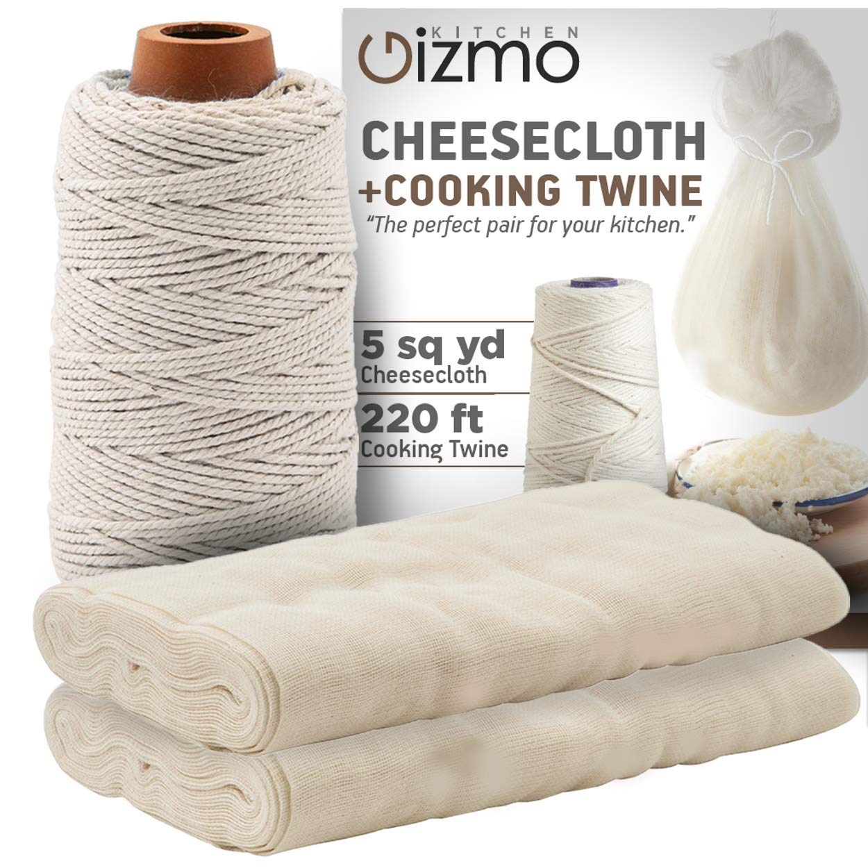 Cheesecloth and Cooking Twine - by Kitchen Gizmo, Grade 50 100% Unbleached Cotton (5 Yards/45 Sq. Feet) Cheese Cloth for Straining with 220 Ft Butchers Twine by Kitchen Gizmo