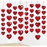 Valentines Day Decorations,Valentines Day Banners,Red Glitter Heart Garland for Valentines Day Hanging String Garland for Val