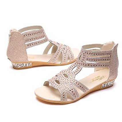 6e83e0353 Amazon.com  Women Wedge Sandals Hollow Rhinestone Shoes Fish Mouth Sandals  Back Zipper Crystal Sandals Summer Roman Shoes for Women   Girls  Sports    ...
