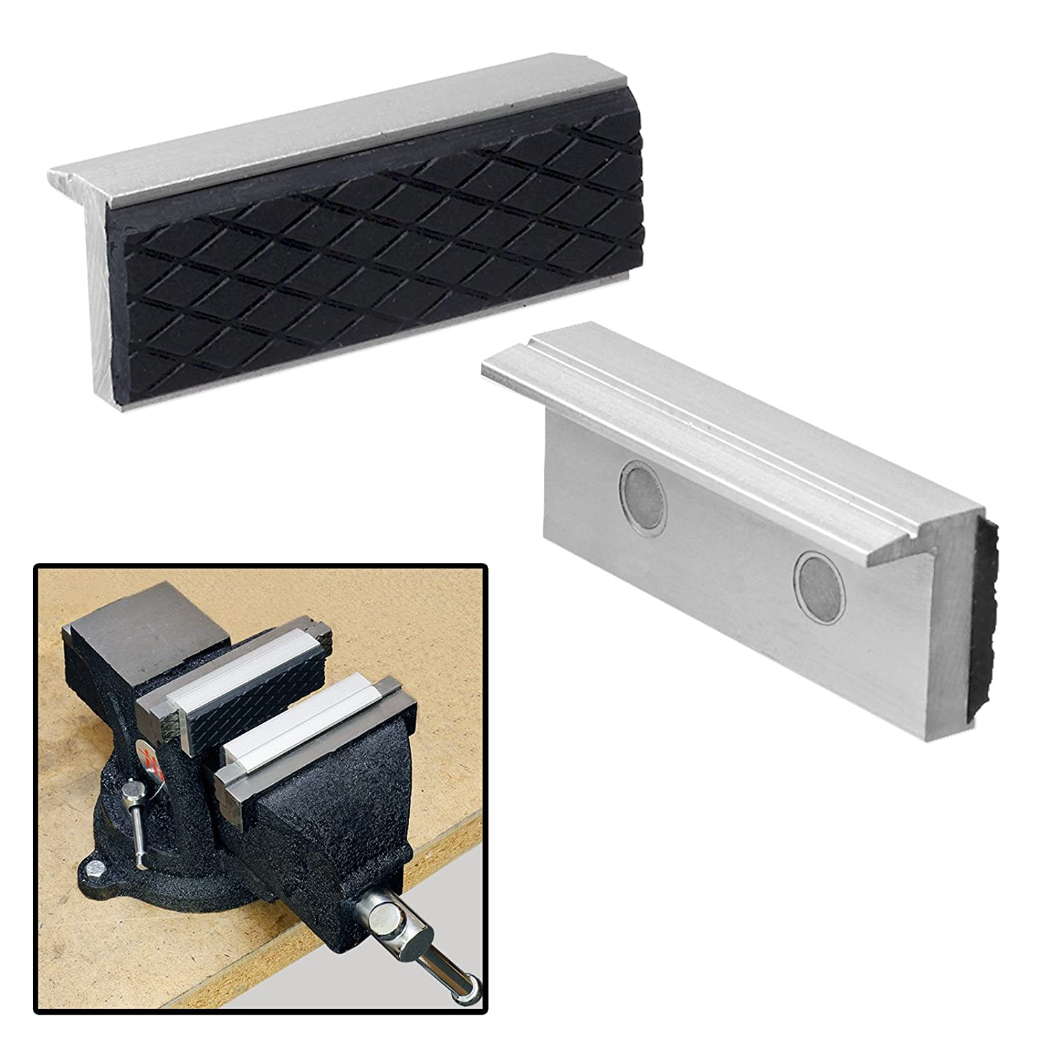 2pc 3' Magnetic Aluminum Vise Jaws for Clamps & Vises - Protect Your Workpieces! HK