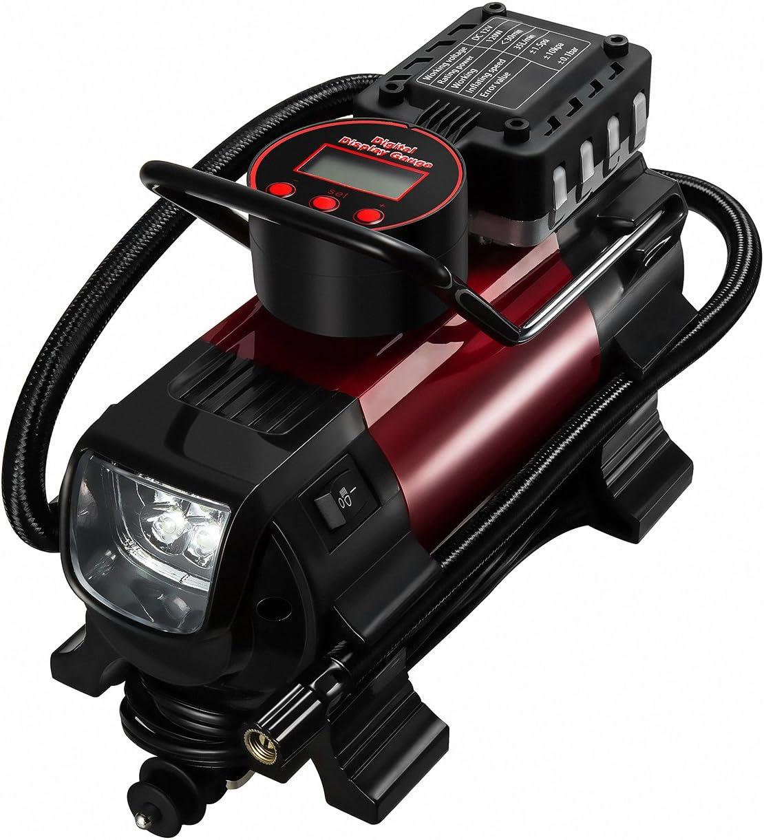 omorc Bomba multifonctionnelle portátil 12 V DC para compresores de aire de metal para coches, motos, globos, de deporte y otros artículos hinchables