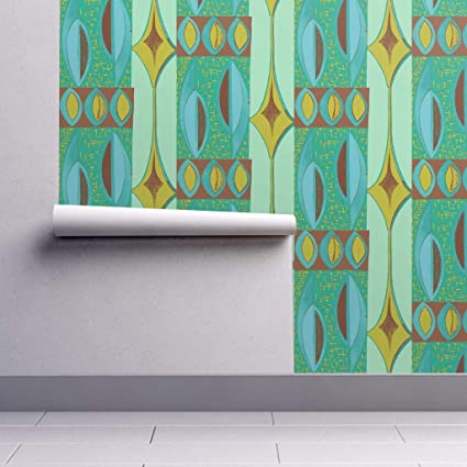 Removable Water Activated Wallpaper Mid Century Modern Mid