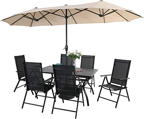 PHI VILLA 7 Pcs Patio Dining Set and 13ft Large Rectangle Patio Umbrella