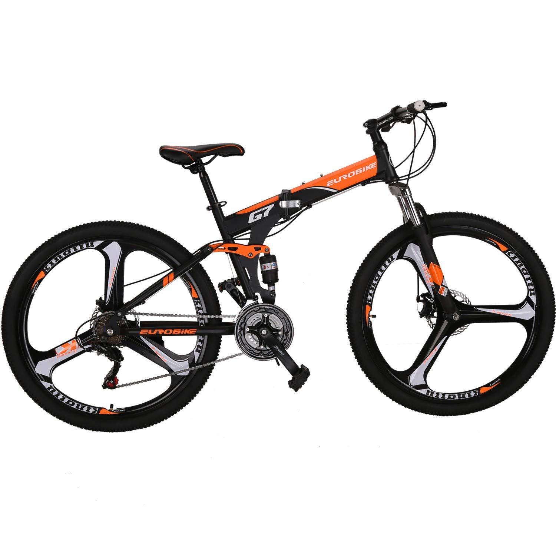 """EUROBIKE Folding Bike 21 Speed Full Suspension Mountain Bicycle 27.5/"""" Daul Disc Brake"""