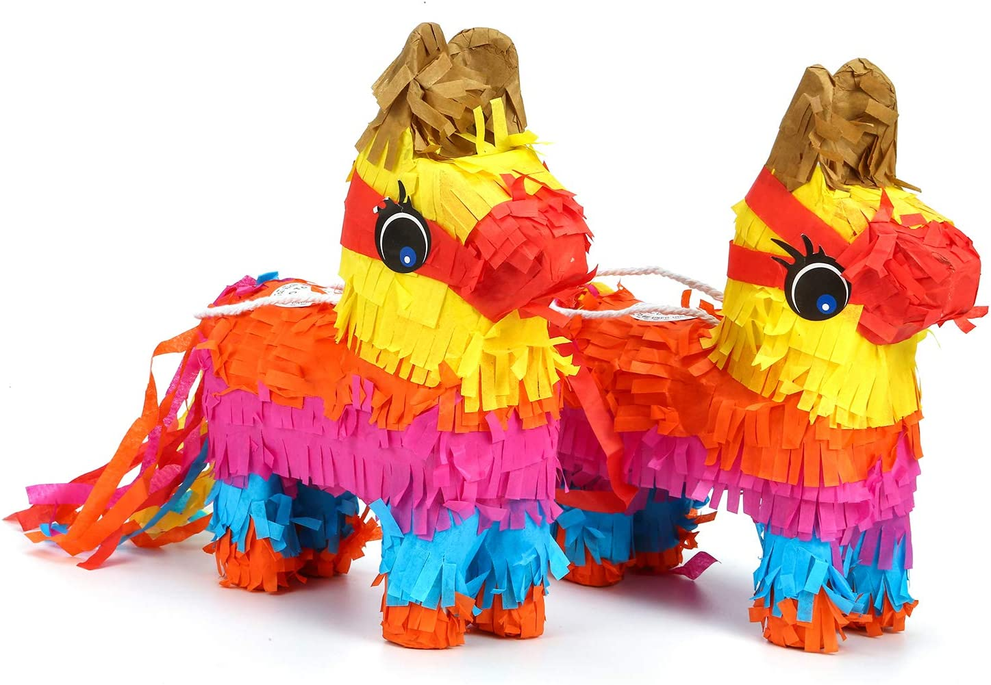 Pack of 2, Mini Donkey Pinatas, Mexican Pinatas with Hanging Loop, Party Supplies Favor for Fiestas by Crystal Lemon