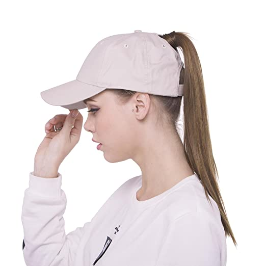 Lobeve Ponytail Baseball Cap Hat Adjustable Cotton Trucker Ponytail Messy  High Bun Dad Hat-Beige 7e20b39023f