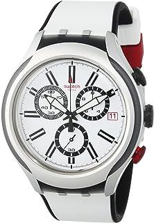 Swatch White Dial White Silicone Quartz Chronograph Mens Watch YYS4005