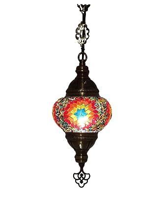 Lámpara de mosaico colgante oriental (lámpara turca) ø 13 cm ...