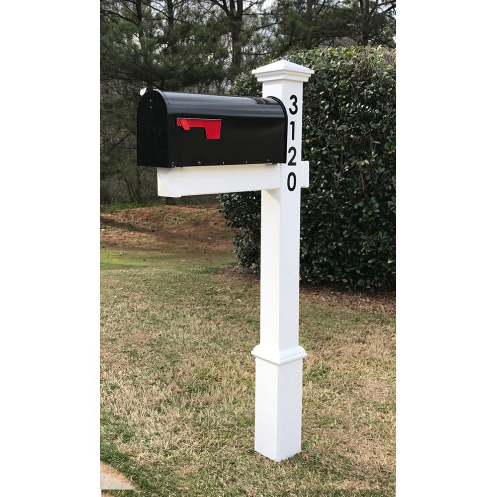 4EVER The Homestead Vinyl/PVC Mailbox Post (Includes Mailbox) - Parent (Black Numbers on Post)